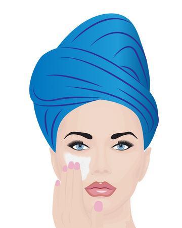Vector illustration of a girl using facial cream for skincare