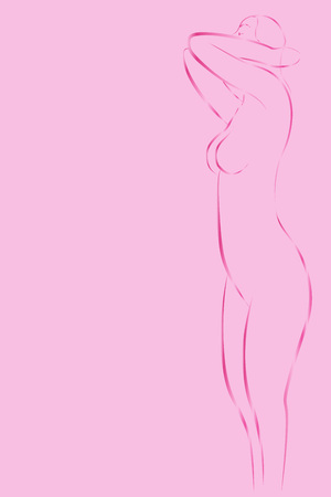 Illustration of a girl for breast cancer awareness month. Vector Illustration