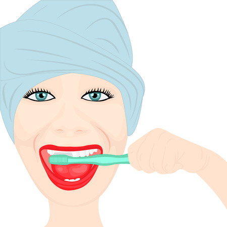head protection: A girl cleaning teeth on white background.