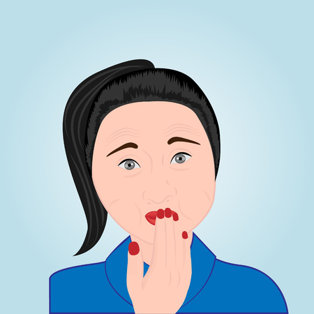 A girl covering her mouth with her hand trying to avoid belching vector illustration Illustration