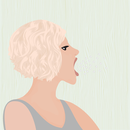 A burp from mouth of a beautiful girl vector illustration