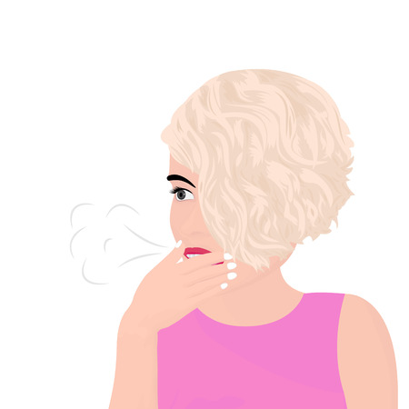 a beautiful girl having a burp and covering her mouth with her hand vector illustration