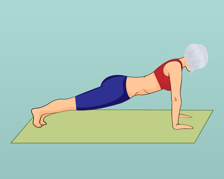 A girl in a plank pose. Vector illustration