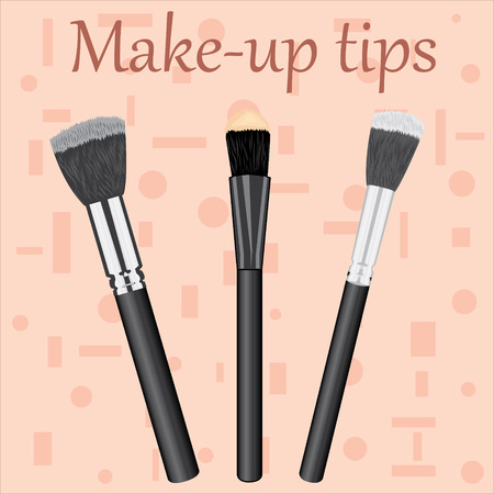 Professional Makeup Brushes kit with Make-up tips text.