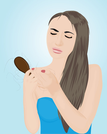 Young beautiful woman worried about hair loss holding comb looking at it.  イラスト・ベクター素材
