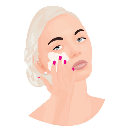 A girl covering a cream onto her face vector illustration.