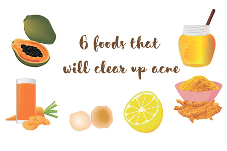 Foods to clear up acne vector illustration.