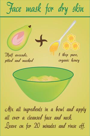 Avocado mask vector illustration.