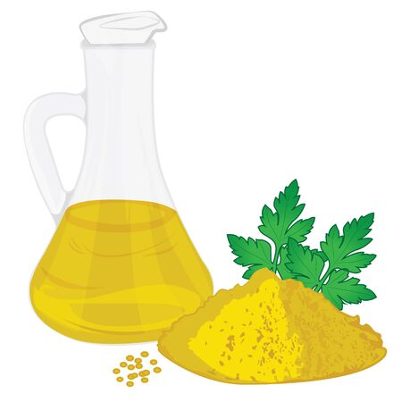 Yellow oil in a jar with mustard powder isolated on a white background