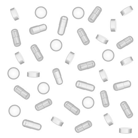 Pills, drugs, medicines on a white background vector illustration  イラスト・ベクター素材
