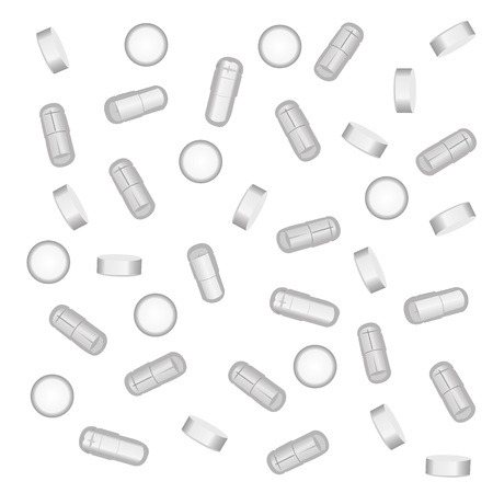 Pills, drugs, medicines on a white background vector illustration Ilustração