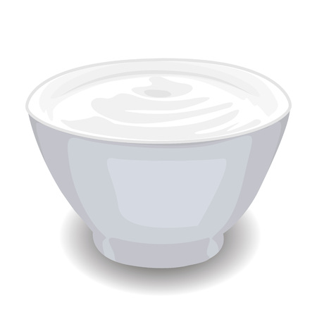 Bowl of Sour Cream isolated vector illustration on a white background. Banque d'images - 99864798