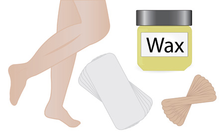 Wax hair removal vector illustration. Skincare procedure, Vettoriali