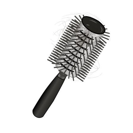 Brush Hair loss. Vector illustration on a white background Ilustracja