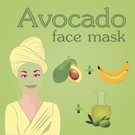 Diy Avocado, banana, olive oil face mask for dry skin vector illustration.