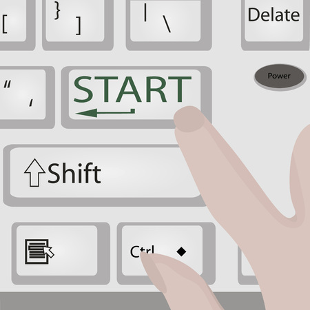 Keyboard Start Power Button   Computer or laptop with fingers Vector illustration Illustration