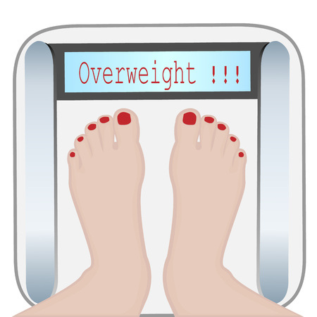 Woman feet on a Weight machine vector illustration. Overweight