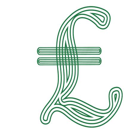 Lire Italian  currency  symbol  icon striped vector illustration Vettoriali