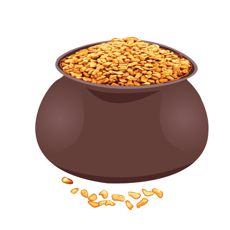 Fenugreek in a bowl vector illustration on a white background Ilustracja