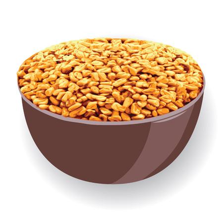 Fenugreek in a bowl vector illustration on a white background Illustration