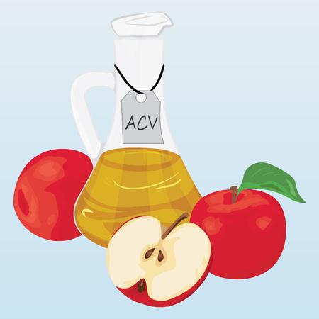 Apple cider vinegar and apples vector illustration
