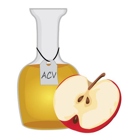 Vinagre de sidra de manzana y la mitad de una ilustración de vector de manzana