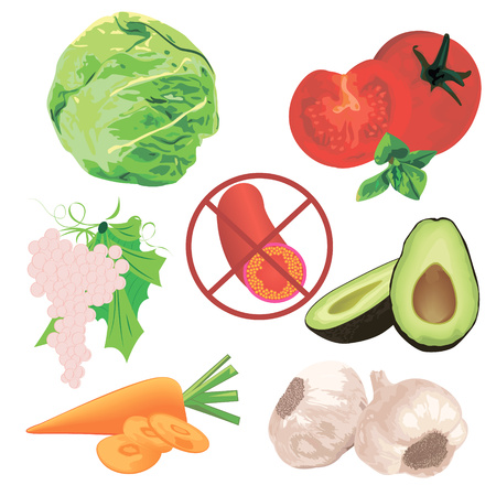 Cholesterol level lower control  eating food vector illustration Ilustracja