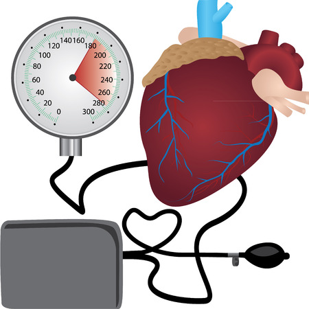 Blood pressure measuring   cardio exam  vector illustration on a white background Imagens - 122777877