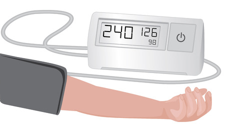 Blood pressure measuring   cardio exam  vector illustration on a white background 向量圖像