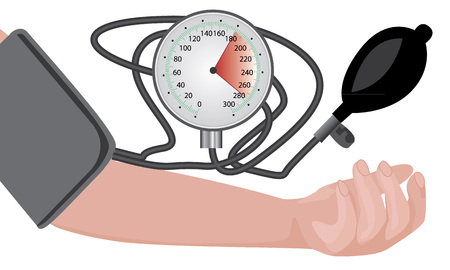 Blood pressure measuring cardio exam vector illustration on a white background