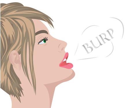 Un rutto dalla bocca di una bella ragazza illustrazione vettoriale Vettoriali