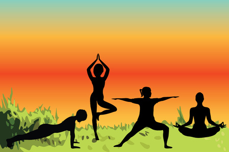 Women doing yoga excercises in a nature vector illustration. Activity  outdoors meditation and relaxation in the nature scenery. Active lifestile