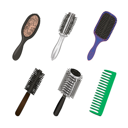 Set of brushes for hairstylist vector illustration isolated