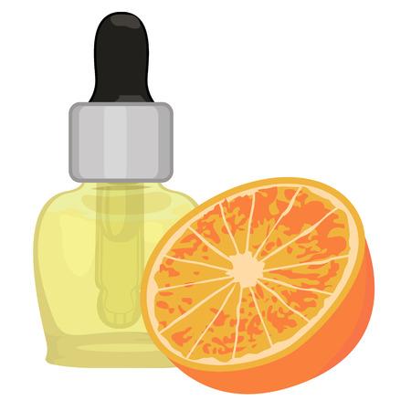 Orange essential oil vector illustration Aromatherapy Health care