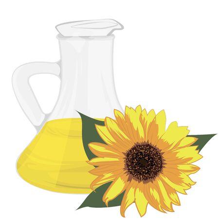 Illustration de vecteur d'huile de tournesol isolé sur fond blanc