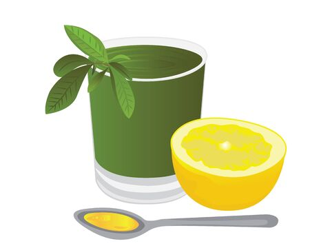 A glass of tea with a lemon,  honey and a tea brunch leaves vector illustration on a white background  イラスト・ベクター素材