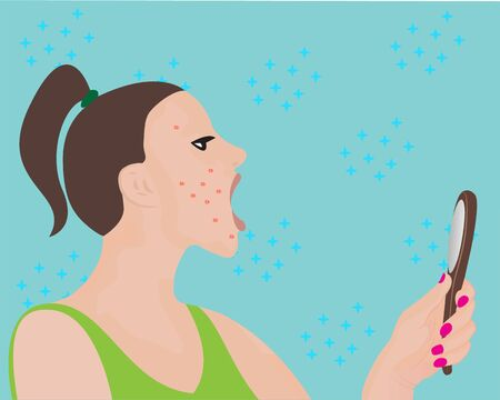 A young woman looking at a mirror and scared with acne on her face vector illustration  イラスト・ベクター素材