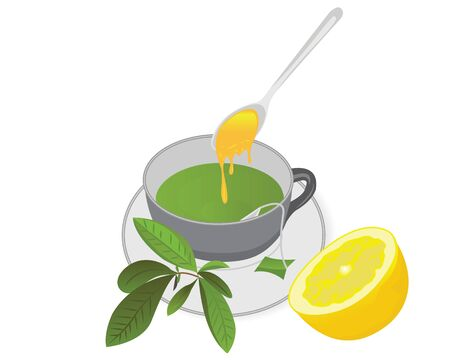 A cup of tea with a lemon,  honey and a tea brunch leaves vector illustration on a white background 写真素材 - 127822327