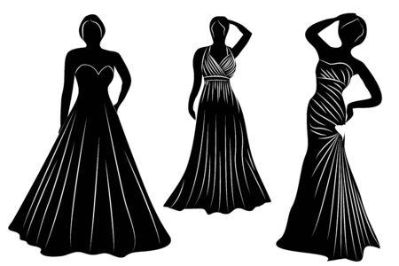Young wemen in evening dresses for a party silhouettes vector isolated 写真素材 - 131987105