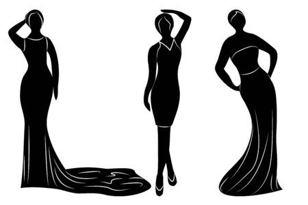 Young wemen in evening dresses for a party silhouettes vector isolated  イラスト・ベクター素材