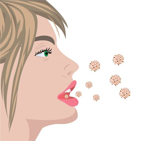 Viruses infection flu bacterial overgrowth producing bad smell breathe in a mouth  vector illustration on a white background