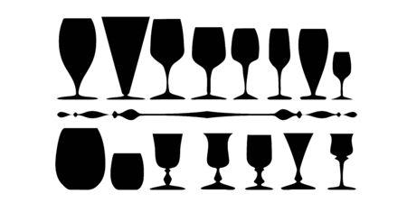 Set of glasses silhouettes isolated on a white background Illusztráció