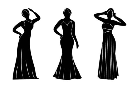 Young wemwn a evening gowns silhouettes vector illustration isolated 写真素材 - 131984998