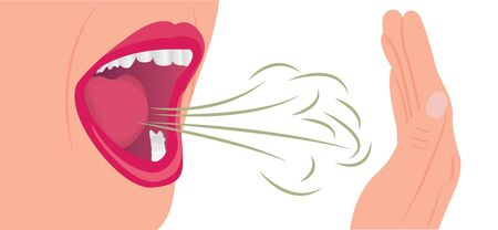 Bad smell air from a mouth. Oral hygiene concept vector illustration on a white background. 写真素材 - 131985191
