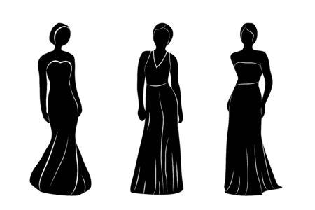 Young wemen in evening dresses silhuettes vector illustrations Vecteurs
