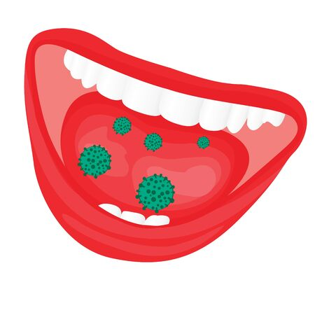 Viruses bacterial overgrowth in a mouth.  flu, cold, contageous diseas vector illustration on a white background