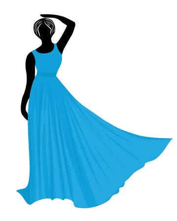 Young wemen in evening dresses for a party silhouettes vector isolated 写真素材 - 131985055