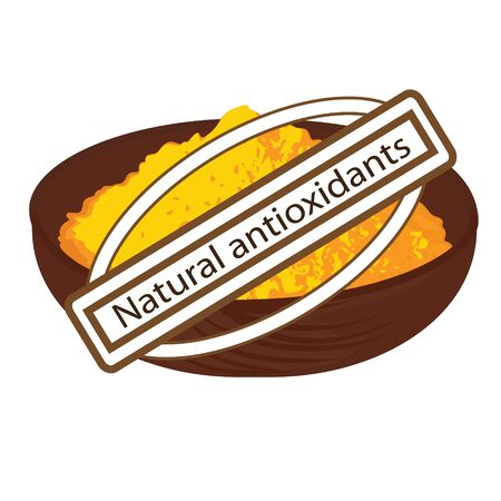 natural antioxidant turmeric spice vector illustration on a white background 写真素材 - 131984609
