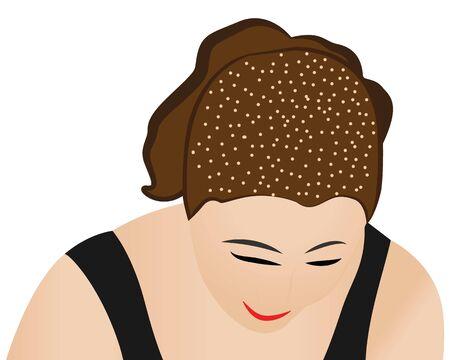 A woman head full of dandruff vector illustration on a white background isolated 写真素材 - 131986061