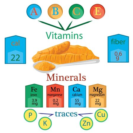 Compound of vitamins and minerals in one spoon of turmeric powder vector infographics 写真素材 - 131987469